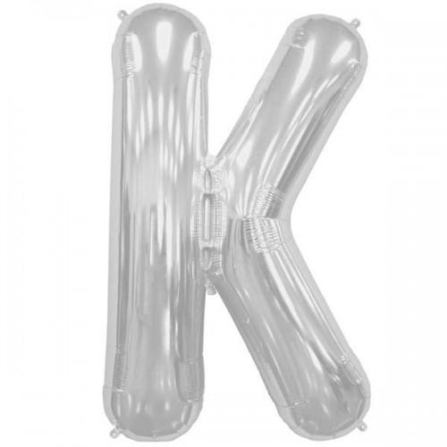 "Silver Letter K Shape 34"" Foil Balloon"