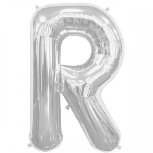 "Silver Letter R Shape 34"" Foil Balloon"