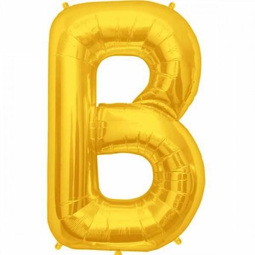 """Gold Letter B Shape 34"""" Foil Balloon"""