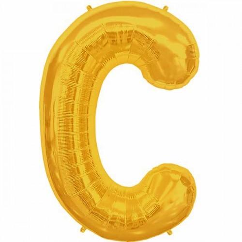 "Gold Letter C Shape 34"" Foil Balloon"