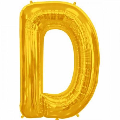 "Gold Letter D Shape 34"" Foil Balloon"