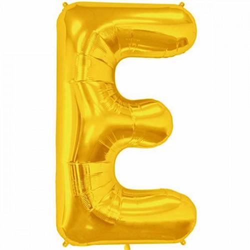 """Gold Letter E Shape 34"""" Foil Balloon"""