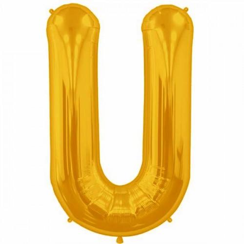 "Gold Letter U Shape 34"" Foil Balloon"