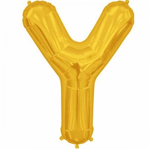 "Gold Letter Y Shape 34"" Foil Balloon"