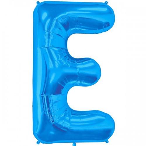 "Blue Letter E Shape 34"" Foil Balloon"