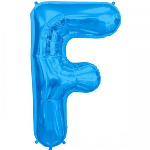 "Blue Letter F Shape 34"" Foil Balloon"