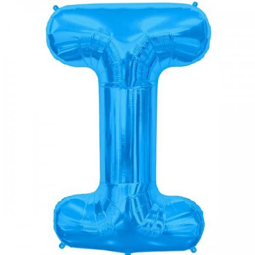 """Blue Letter I Shape 34"""" Foil Balloon"""