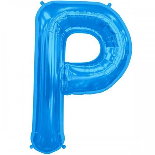 """Blue Letter P Shape 34"""" Foil Balloon"""