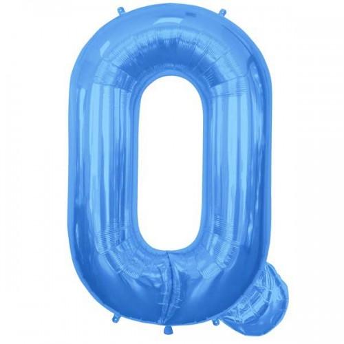 """Blue Letter Q Shape 34"""" Foil Balloon"""