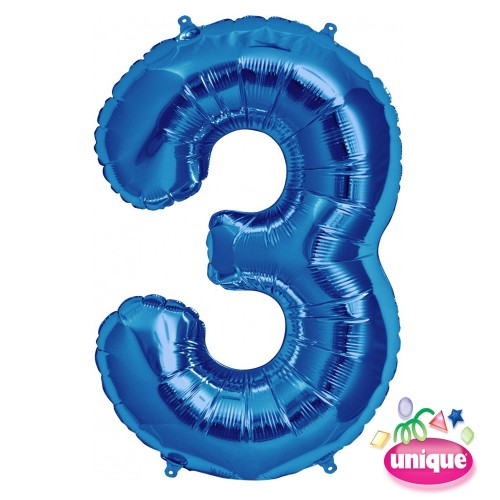 "34"" Blue Number 3 Foil Balloon"