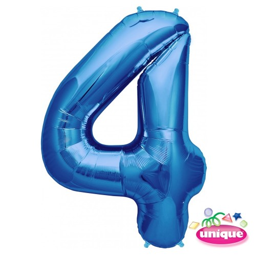 "34"" Blue Number 4 Foil Balloon"