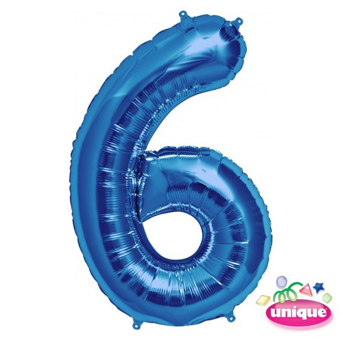 "34"" Blue Number 6 Foil Balloon"