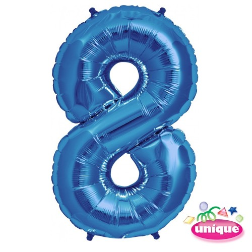 "34"" Blue Number 8 Foil Balloon"