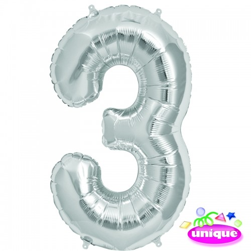 """34"""" Silver Number 3 Foil Balloon"""