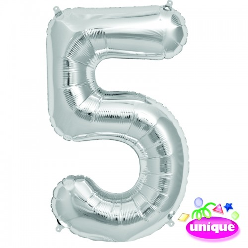 "34"" Silver Number 5 - Foil Balloon"