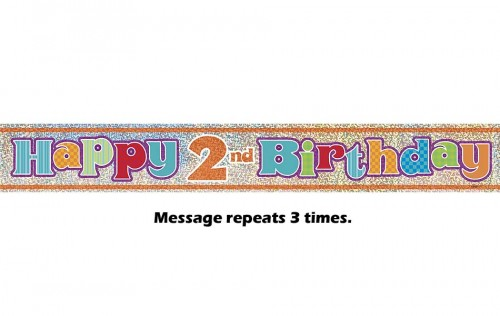Happy 2nd Birthday Prismatic Banner - 12Ft.