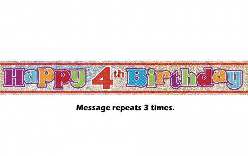 Happy 4th Birthday Prismatic Banner - 12Ft.