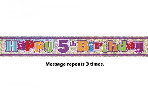 Happy 5th Birthday Prismatic Banner - 12Ft.