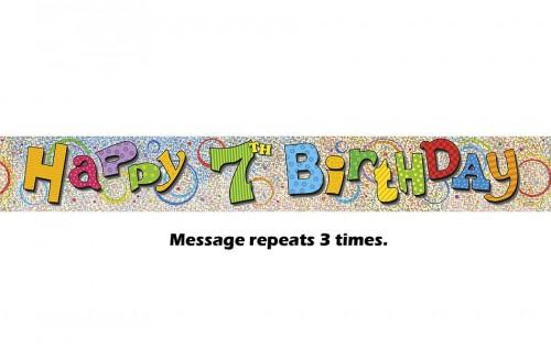 Happy 7th Birthday Prismatic Banner - 12Ft.
