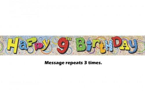 Happy 9th Birthday Prismatic Banner - 12Ft.
