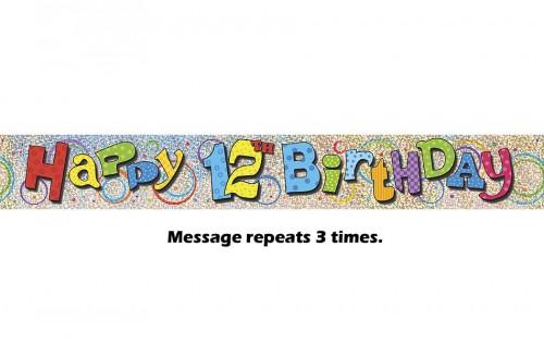 Happy 12th Birthday Prismatic Banner - 12Ft.
