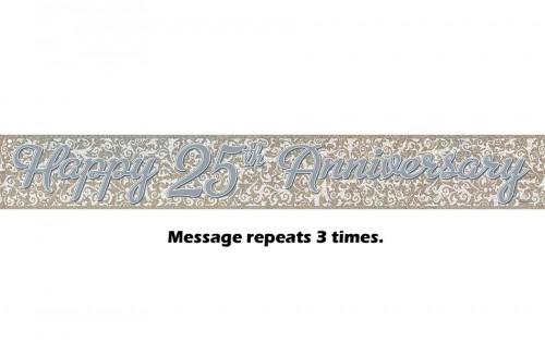 Happy 25th Anniversary Silver Prismatic Banner - 12Ft.