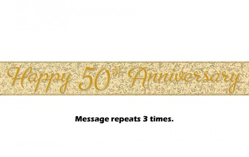 Happy 50th Anniversary Gold Prismatic Banner - 12Ft.