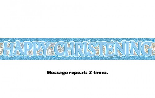 Blue Christening Prismatic Banner 12Ft.