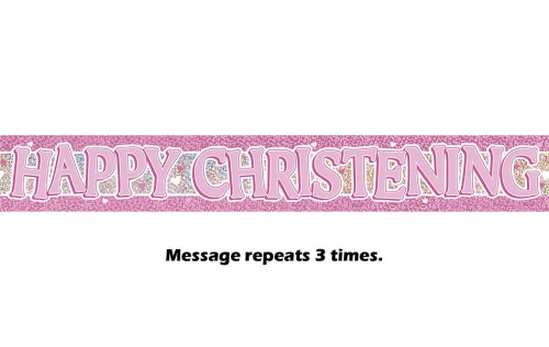 Pink Christening Prismatic Banner - 12Ft.