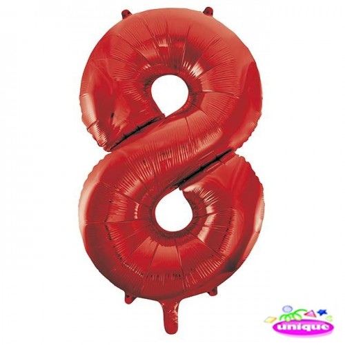"""34"""" Red Number 8 Foil Balloon"""