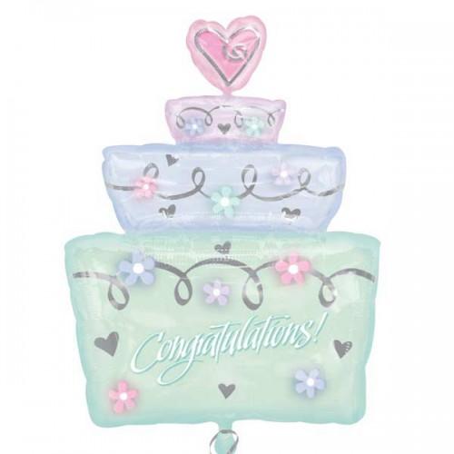 Simply Sparkling Wedding Cake Shape 71cm x 53cm