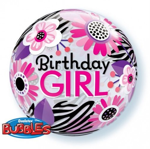Birthday Girl Floral Zebra Stripes