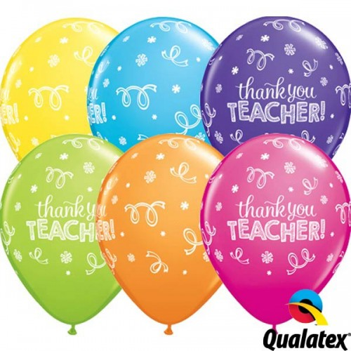 "Thank You Teacher 11"" Tropical Assorted (25CT)"
