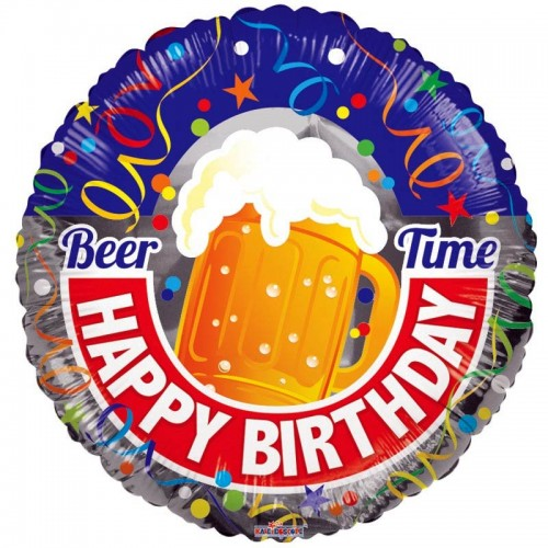 "Happy Birthday Beer - 18"" foil balloon"
