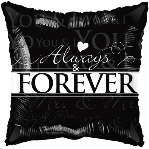 "Always and Forever Black and White - 18"" foil balloon"