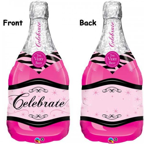 "Celebrate Pink Bubbly Wine Bottle 39"" Foil Balloon (Personalise it)"