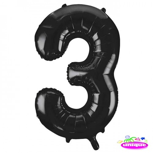 "34"" Black Number 3 foil balloon"