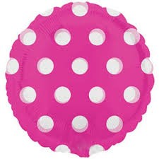 "Pink Polka Dot - 18"" foil balloon"