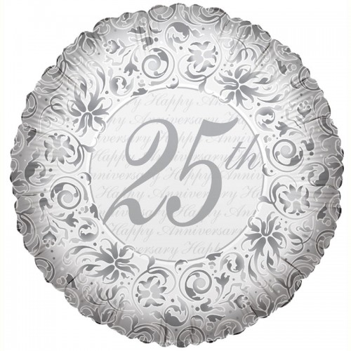 "25th Anniversary - Silver - 18"" foil balloon"