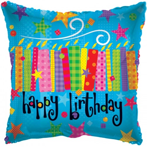 "Happy Birthday - Blow Candles - 18"" foil balloon"