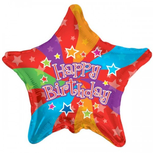 "Happy Birthday Colors Star - 18"" foil balloon"