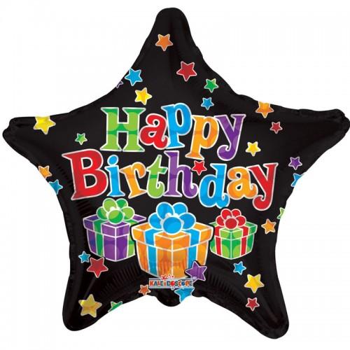 "Happy Birthday - Big Dots Black Star - 18"" foil balloon"