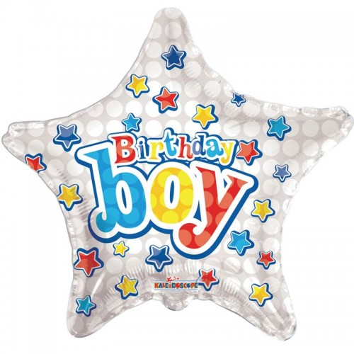 "Happy Birthday Birthday Boy Star - 18"" foil balloon"