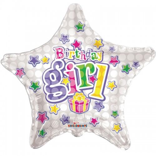 "Happy Birthday Birthday Girl Star - 18"" foil balloon"
