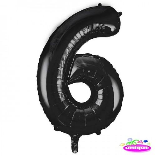 "34"" Black Number 6 foil balloon"