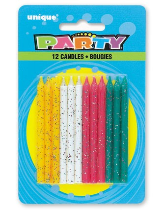 Multi Glitter Birthday Candles (12ct) - Pack of 12