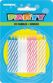 Spiral Birthday Candles Multi (24ct) - Pack of 12