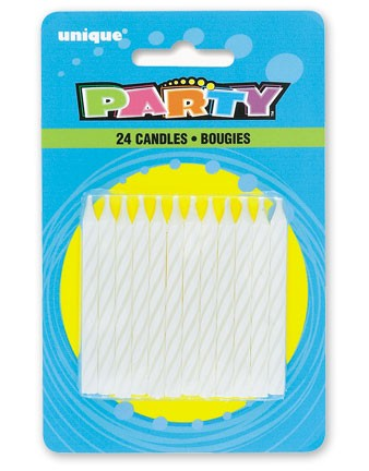 WHITE SPIRAL CANDLES (24ct) - Pack of 12