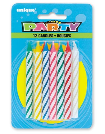 Spiral Birthday Candles Multi (12ct) - Pack of 12