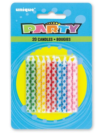 Diamond Dot Birthday Candles Multi (20ct) - Pack of 12